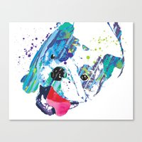 english bulldog Canvas Prints featuring English Bulldog by free in the lines