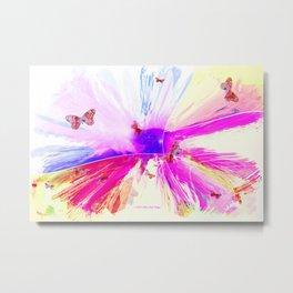 """Pink Butterflies Abstract"" Metal Print"