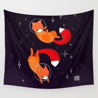 foxes Wall Tapestries featuring Space Foxes by Maike Vierkant