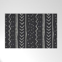 Moroccan Stripe in Black and White Welcome Mat