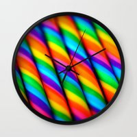 candy Wall Clocks featuring Rainbow Candy : Candy Canes by WhimsyRomance&Fun