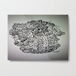 Crazy Eyeball Ink Doodle Metal Print