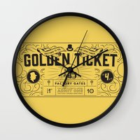 roald dahl Wall Clocks featuring THE GOLDEN TICKET by Level Seven