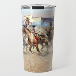 12,000pixel-500dpi - Smoke of a .45 - Charles Marion Russell Travel Mug