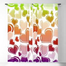Whimsical Bright Hearts Blackout Curtain