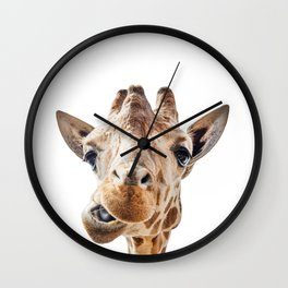 Funny Giraffe Portrait Art Print, Cute Animals, Safari Animal Nursery, Kids Room Poster Wall Clock