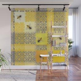 Honey Bee On Honey Comb Weave Wall Mural