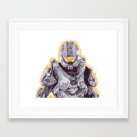 master chief Framed Art Prints featuring Halo Master Chief by DeMoose_Art
