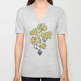 Bonsai Tree – Orange Fruit Unisex V-Neck