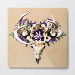 Deer Skull and Flowers on Buckskin Background Metal Print