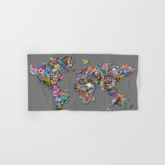 floral skull world map 1 Hand & Bath Towel