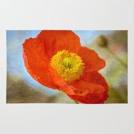 Orange Poppy Flower on a Warm Spring Breeze -- Bright Cheerful Botanical Rug