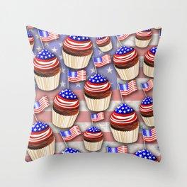 USA Flag Cupcakes Pattern Throw Pillow