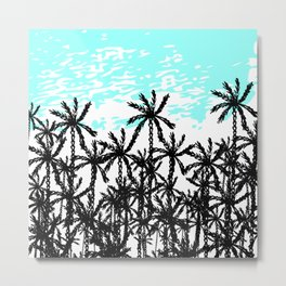 Modern tropical black white teal palm tree pattern Metal Print