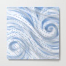 Blue Stripe on Blue Swirl Metal Print