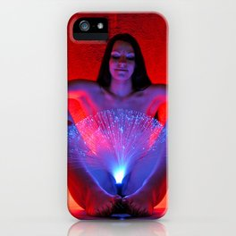 0069s-MAK Blue Red Fiber Optic Illumination of a Beautiful Young Woman iPhone Case