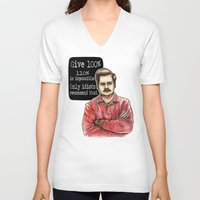 swanson V-neck T-shirts featuring Ron Swanson by Tiffany Willis