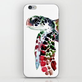 Sea Turtle Olive green, Sage green, Purple Turtle artwork iPhone Skin