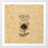 marauders Art Prints featuring MARAUDERS MAP by Graphic Craft