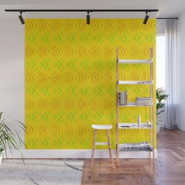 Pattern of intersecting orange hearts and green stripes on a yellow background. Wall Mural