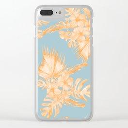 Hawaiian Hibiscus Palm Deep Orange Sky Blue Clear iPhone Case