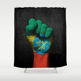 Ethiopian Flag on a Raised Clenched Fist Shower Curtain