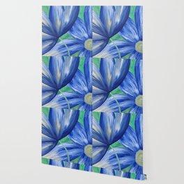 Large Blue Flowers Wallpaper