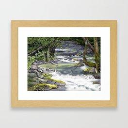 Panther Creek, Watercolor Framed Art Print