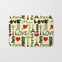 Paris text design illustration Bath Mat