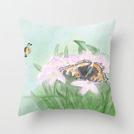 Butterfly bee flower Throw Pillow