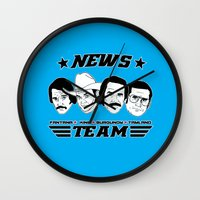 will ferrell Wall Clocks featuring news team - the anchorman by Buby87