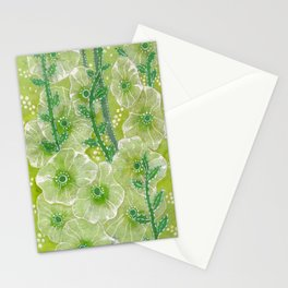 Hollyhock Mallows, Summer Flowers, Floral Collage Chartreuse Stationery Cards