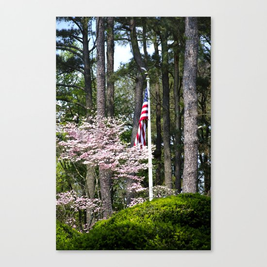 A Flag in the Forest Canvas Print