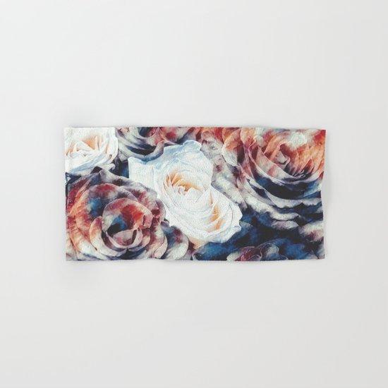 Roses print in retro drawing style watercolor digital Hand & Bath Towel