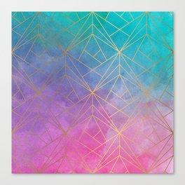 Watercolor Geometric Gold Pattern Art Canvas Print