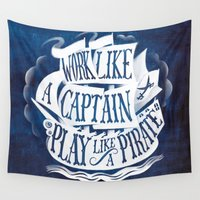 typo Wall Tapestries featuring like a pirate by marella