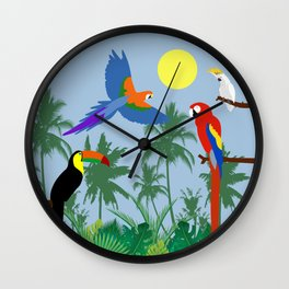 Tropical birds in the jungle (blue version) Wall Clock