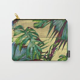 Tropical Palm Leaves on Wood Carry-All Pouch
