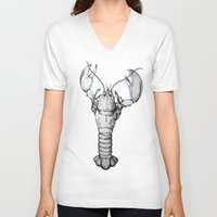 lobster V-neck T-shirts featuring Lobster by Isabel Peace