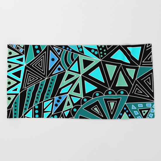 Ethnic pattern in blue turquoise tones on a black background . Beach Towel