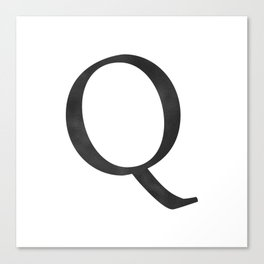 Letter Q Initial Monogram Black and White Canvas Print