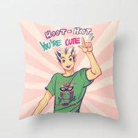 viria Throw Pillows featuring Hoot hoot you're cute! by viria