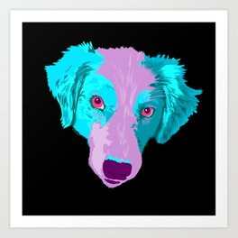 australian shepherd - blk Art Print