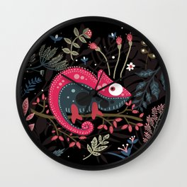 Flowers and Pink chameleon in love Wall Clock