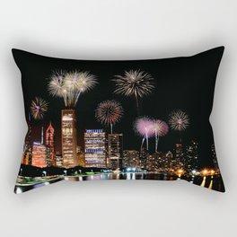 Chicago night skyline with fireworks. Rectangular Pillow
