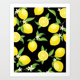 ac8b4058d You re the Zest - Lemons on Black Art Print