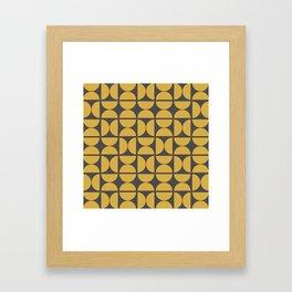 Scandinavian Half Circles (Spicy Mustard, Charcoal Black) Framed Art Print