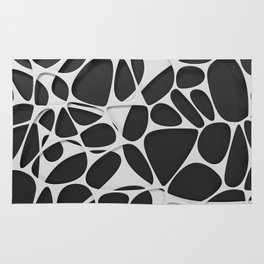 White on black, organic abstraction Rug