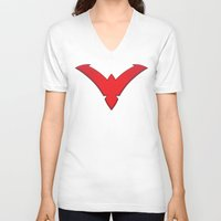 nightwing V-neck T-shirts featuring Nightwing Red by Julian Rhys