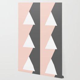 Elegant blush pink & grey geometric triangles Wallpaper